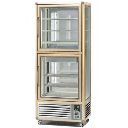 Vitrina frigorifica de cofetarie Tecfrigo Snelle 530 GBT-G, capacitate 530 l, 2 zone temperatura -10 -19/+2+10°C, argintiu/auriu