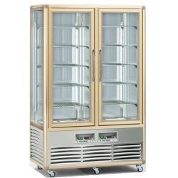 Vitrina frigorifica de cofetarie Tecfrigo Snelle 700 G-G, capacitate 700 l, 2 zone temperatura +4/+10°C, auriu/argintiu
